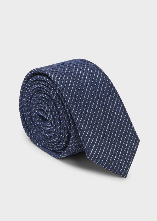 Cravate fine en soie à motifs géométriques marine et bleu - Father and Sons 6033