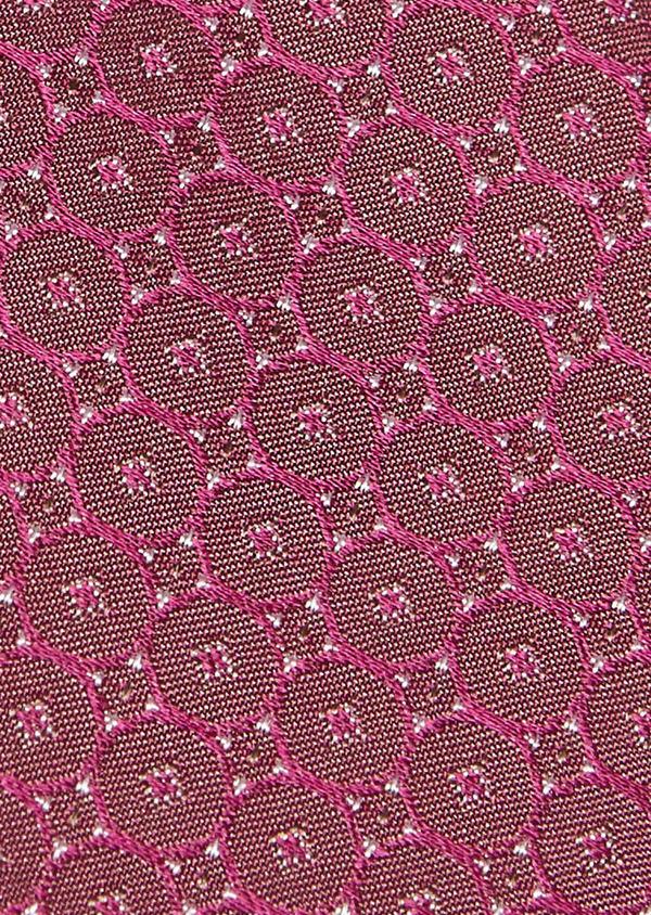 Cravate fine en soie à motifs géométriques rose foncé - Father and Sons 5970