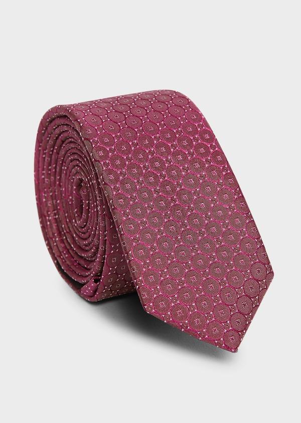 Cravate fine en soie à motifs géométriques rose foncé - Father and Sons 5969