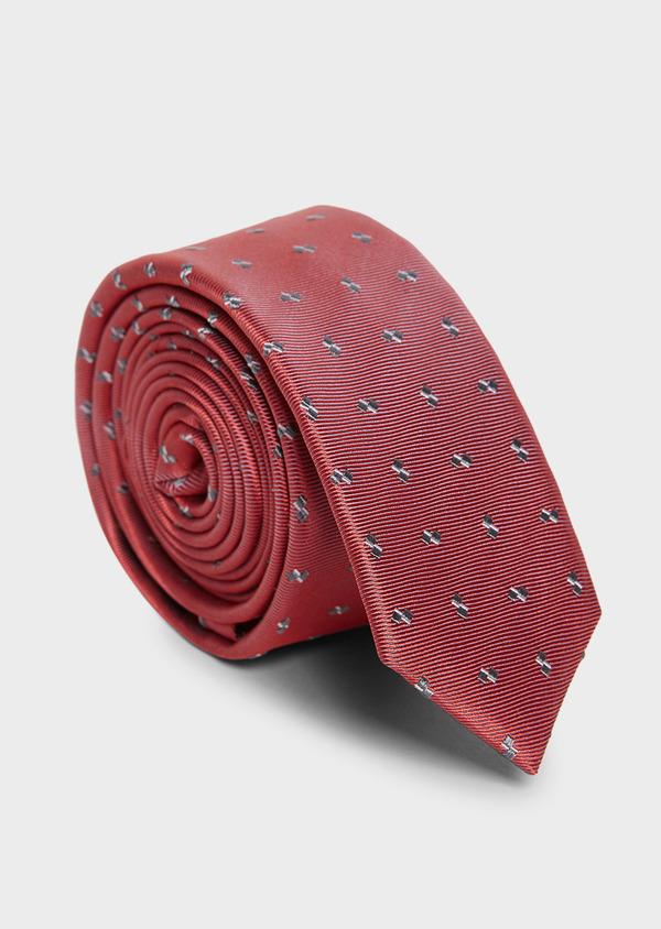 Cravate fine en soie rose à motifs géométriques gris - Father and Sons 5937