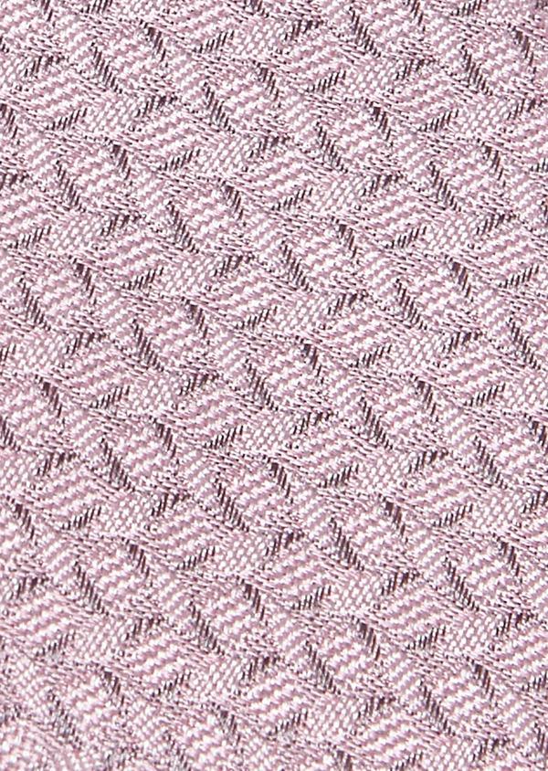 Cravate fine en soie rose clair à motifs géométriques gris clair - Father and Sons 5978