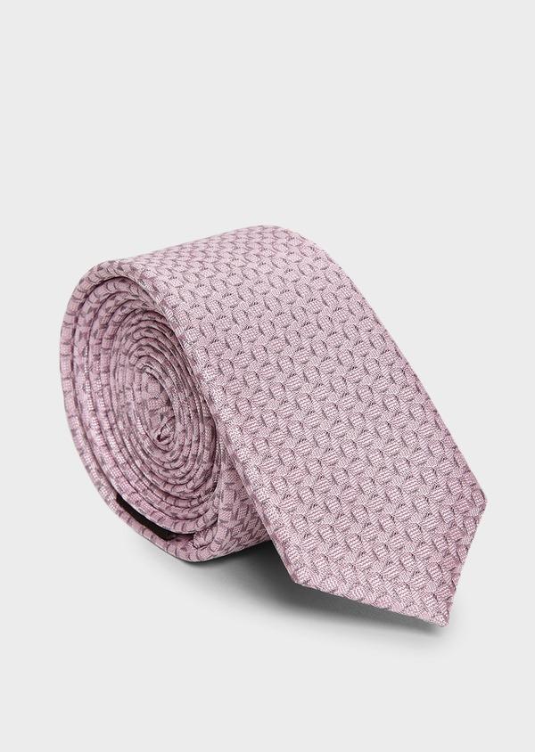 Cravate fine en soie rose clair à motifs géométriques gris clair - Father and Sons 5977