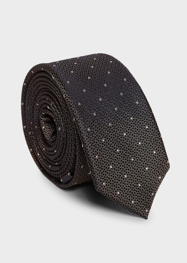Cravate fine en soie marine à motifs géométriques marron clair - Father and Sons 5965