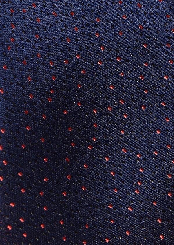 Cravate fine en soie bleu indigo à pois roses - Father and Sons 5946