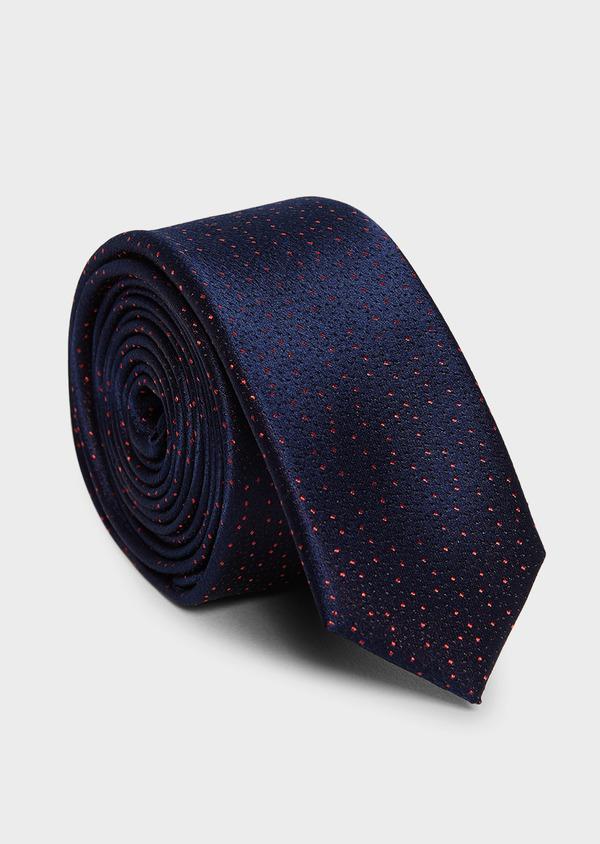 Cravate fine en soie bleu indigo à pois roses - Father and Sons 5945