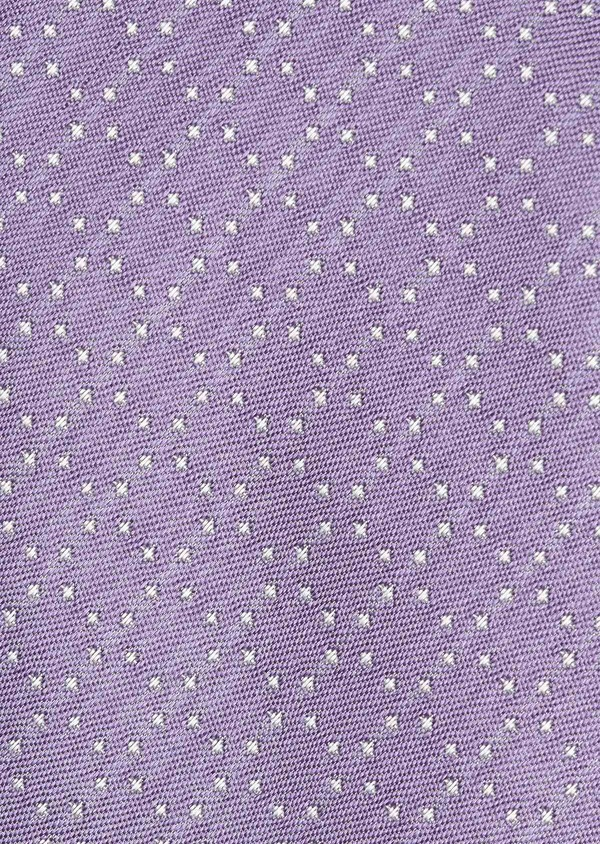 Cravate fine en soie violette à pois blancs - Father and Sons 6050