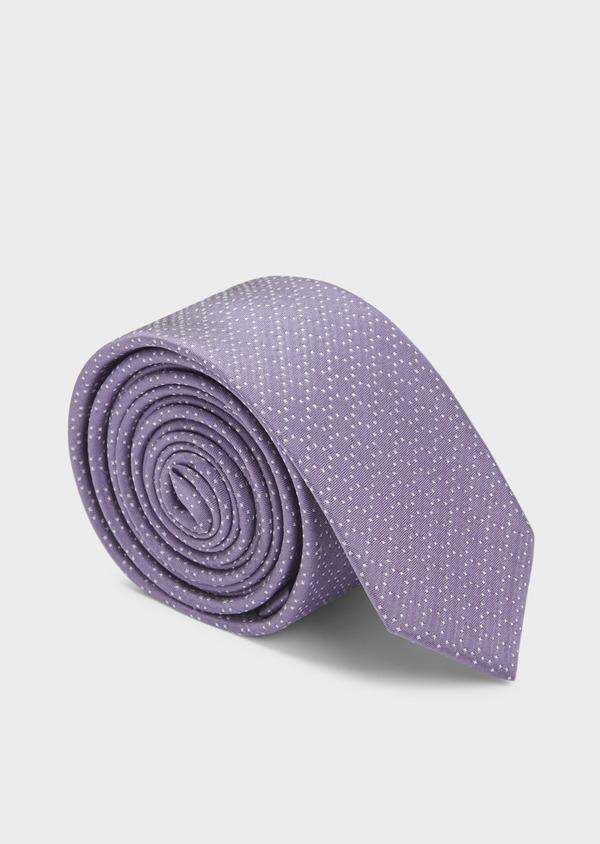 Cravate fine en soie violette à pois blancs - Father and Sons 6049