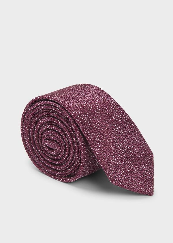 Cravate fine en soie rose foncé texturé à pois blancs - Father and Sons 6073