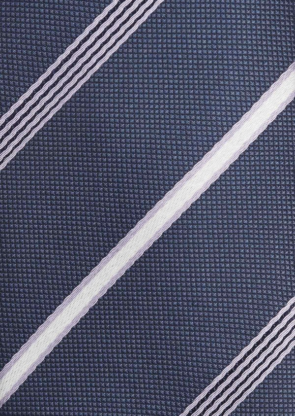 Cravate fine en soie bleue à rayures violet et blanc - Father and Sons 6054