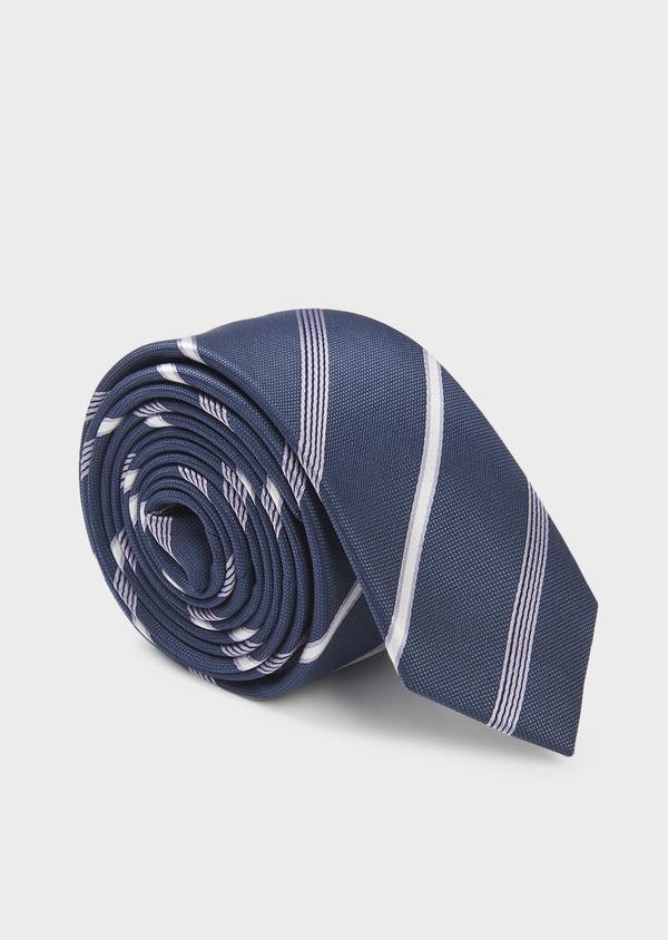 Cravate fine en soie bleue à rayures violet et blanc - Father and Sons 6053