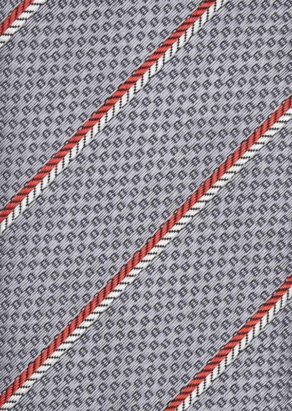 Cravate fine en soie gris clair à rayures rouge et blanc - Father and Sons 6002
