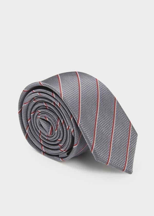 Cravate fine en soie gris clair à rayures rouge et blanc - Father and Sons 6001