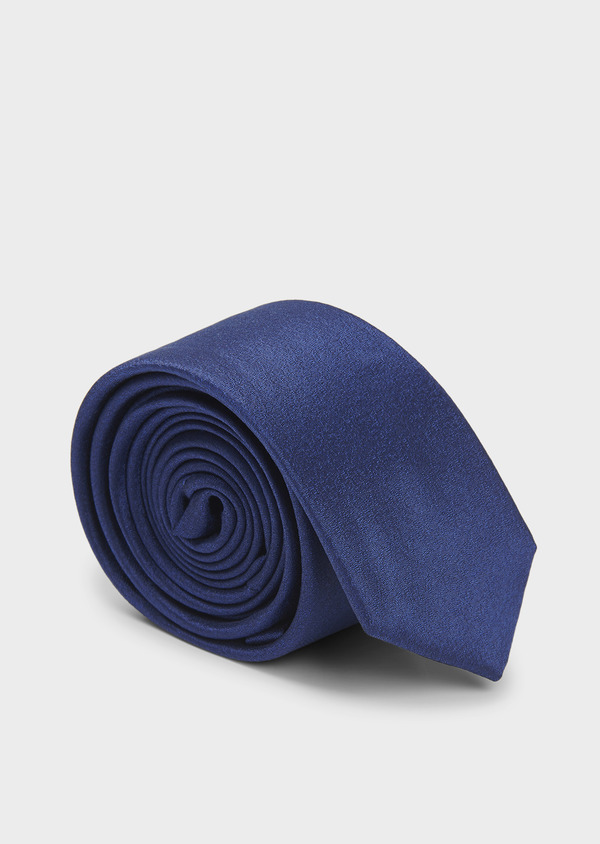 Cravate fine en soie unie bleue - Father and Sons 6121