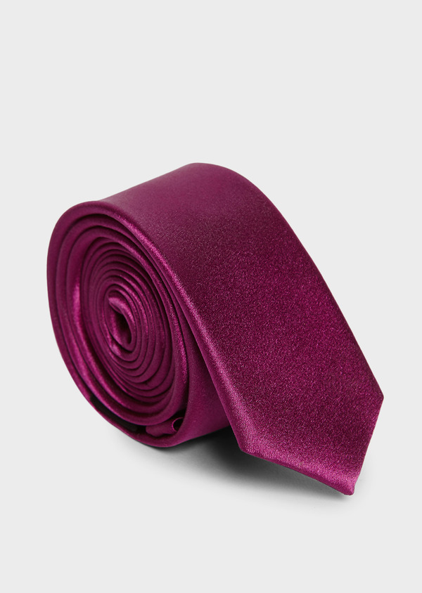 Cravate fine en soie unie rose foncé - Father and Sons 6113