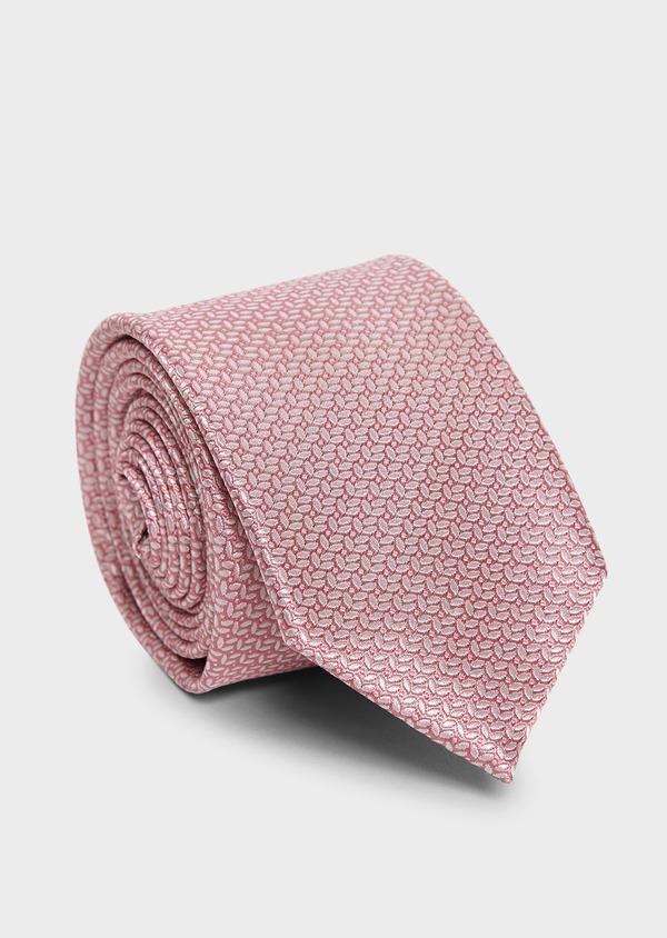 Cravate large en soie rose clair à motif fantaisie bleu clair - Father and Sons 6149