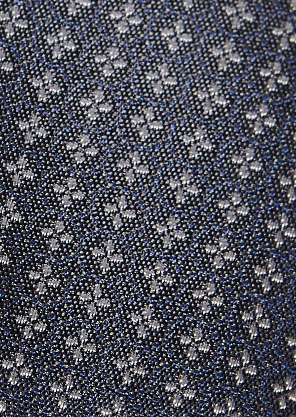 Cravate large en soie bleu-gris à motif fantaisie gris clair - Father and Sons 6142