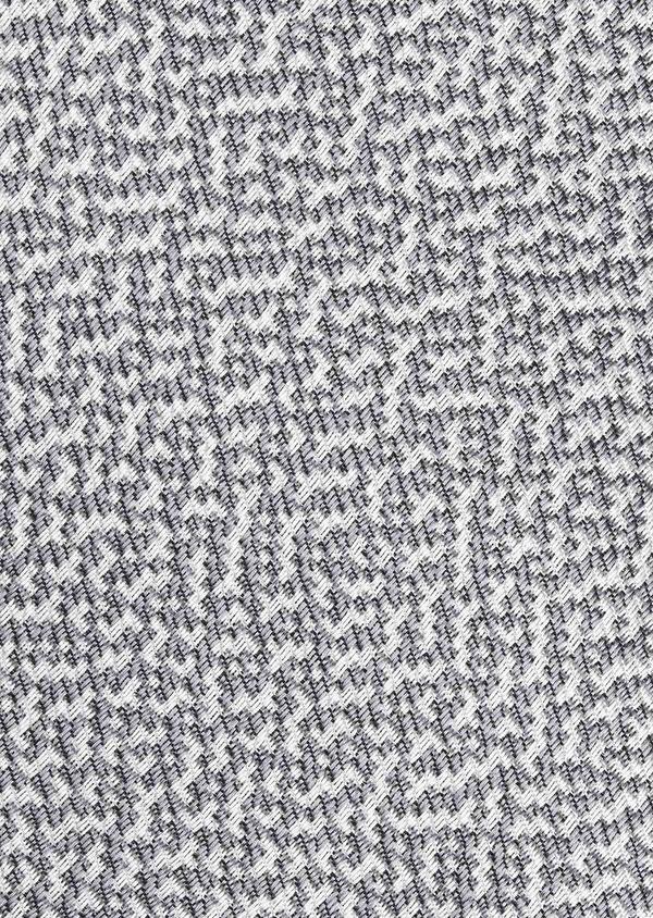 Cravate large en soie texturée gris et blanc - Father and Sons 6158