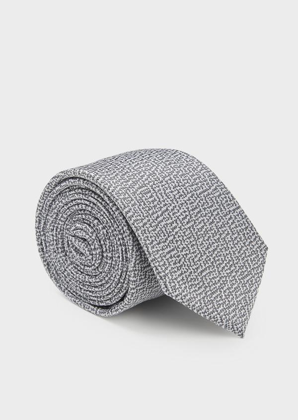 Cravate large en soie texturée gris et blanc - Father and Sons 6157