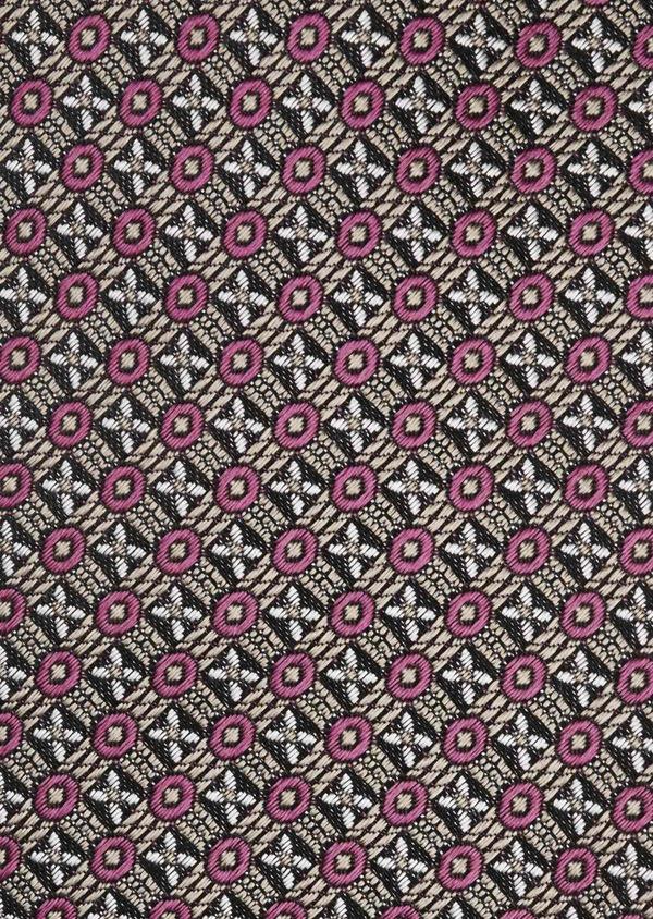 Cravate large en soie noire à motif fantaisie rose foncé et gris clair - Father and Sons 6190