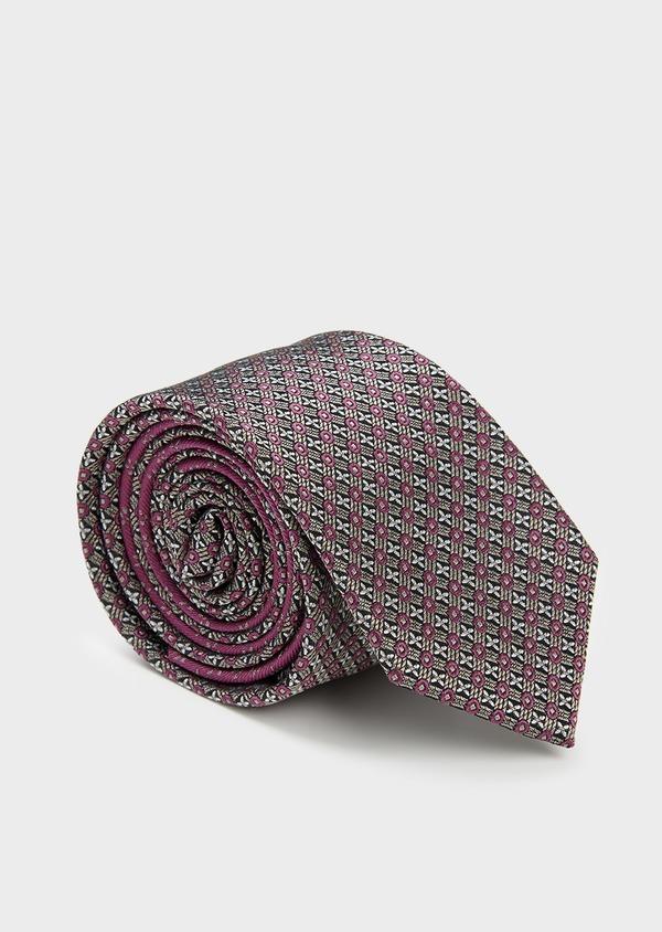 Cravate large en soie noire à motif fantaisie rose foncé et gris clair - Father and Sons 6189