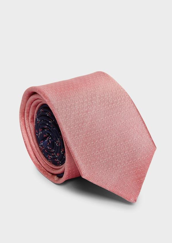 Cravate large en soie rose à motif fantaisie ton-sur-ton - Father and Sons 6137