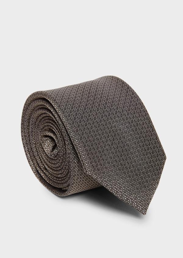 Cravate large en soie beige à motif fleuri ton-sur-ton - Father and Sons 8106