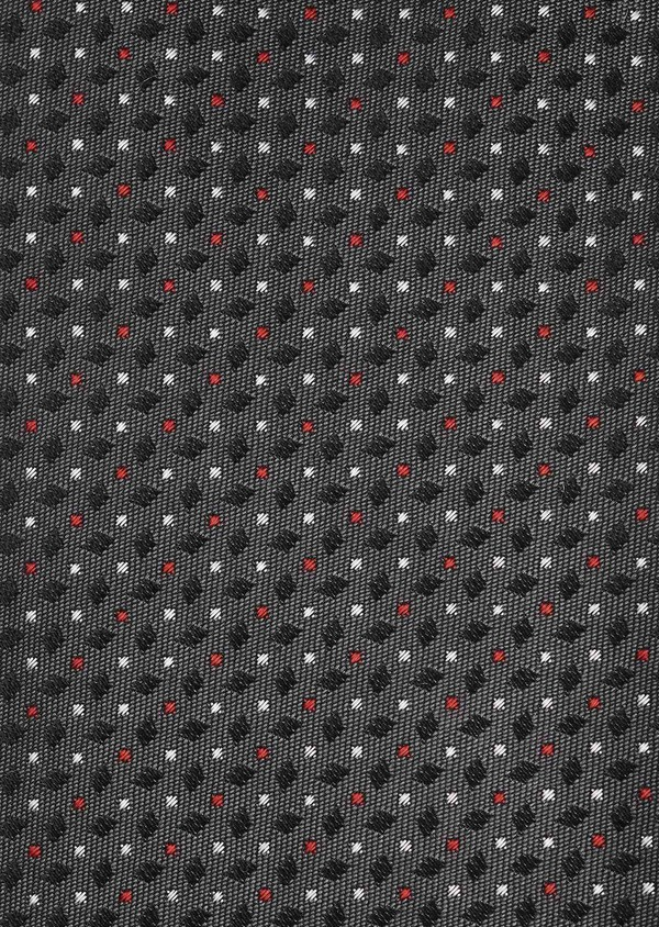 Cravate large en soie gris foncé à motifs géométriques rouge et blanc - Father and Sons 6162