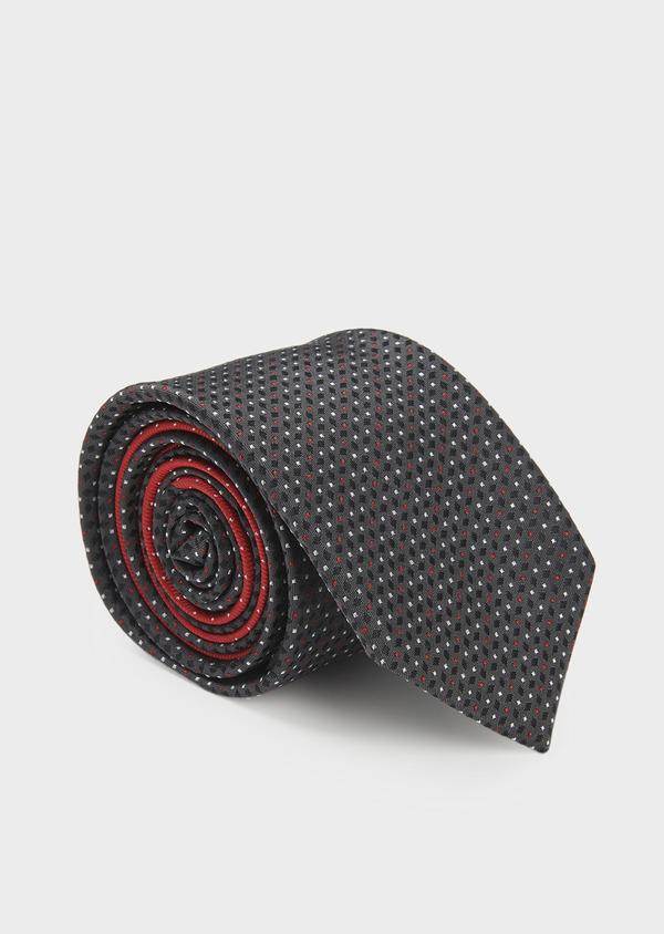 Cravate large en soie gris foncé à motifs géométriques rouge et blanc - Father and Sons 6161