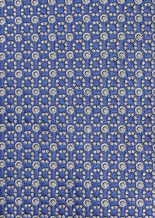 Cravate large en soie bleue à motifs géométriques gris clair - Father and Sons 6166