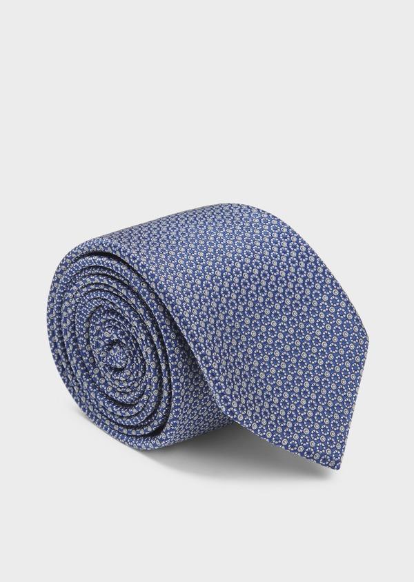 Cravate large en soie bleue à motifs géométriques gris clair - Father and Sons 6165