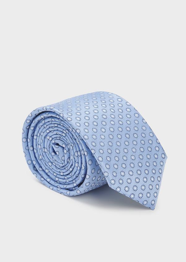 Cravate large en soie à motifs géométriques bleu clair - Father and Sons 6185
