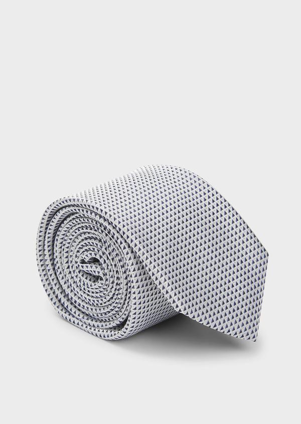 Cravate large en soie greige à motifs géométriques bleus - Father and Sons 6169