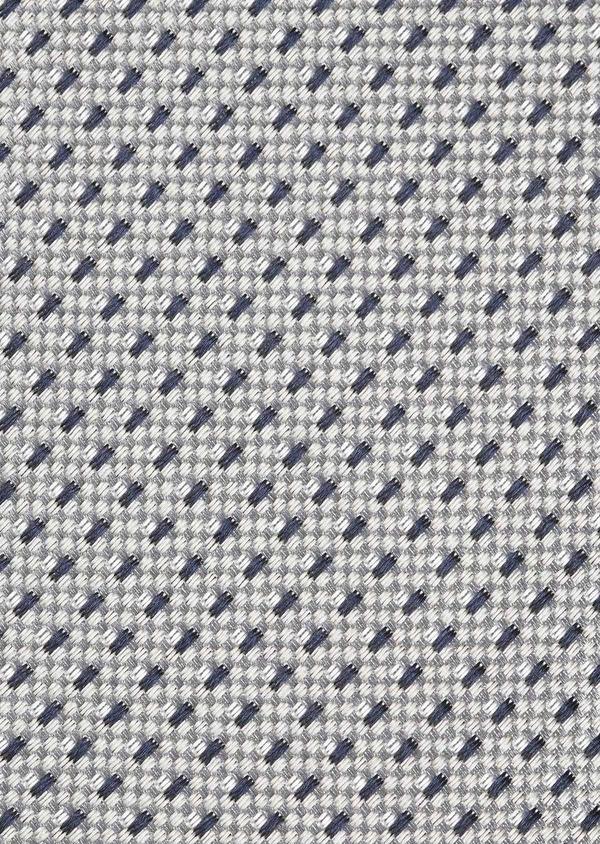 Cravate large en soie greige à motifs géométriques marine - Father and Sons 6174
