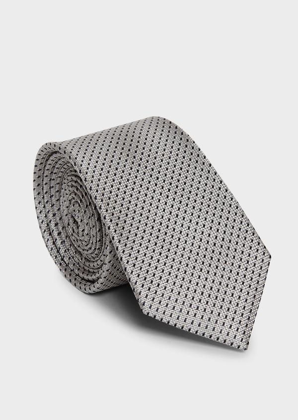 Cravate large en soie greige à motifs géométriques marine - Father and Sons 6173