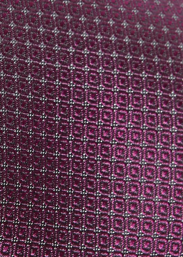 Cravate large en soie rose foncé à motifs géométriques - Father and Sons 6146