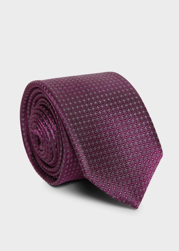 Cravate large en soie rose foncé à motifs géométriques - Father and Sons 6145