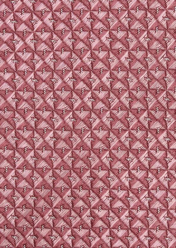 Cravate large en soie rose à motifs géométriques rose clair - Father and Sons 6178
