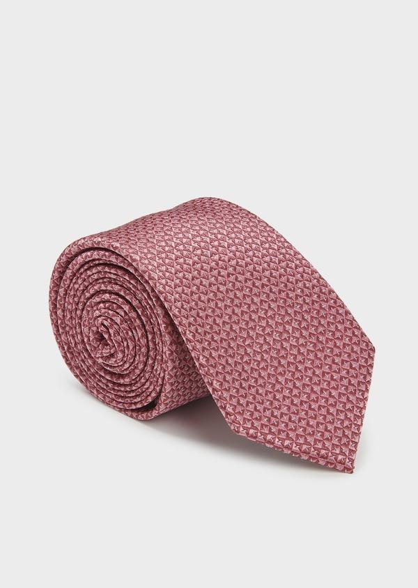 Cravate large en soie rose à motifs géométriques rose clair - Father and Sons 6177