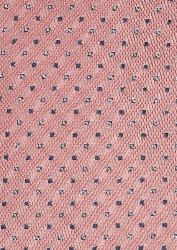 Cravate large en soie rose à motifs géométriques marine et blanc - Father and Sons 6182