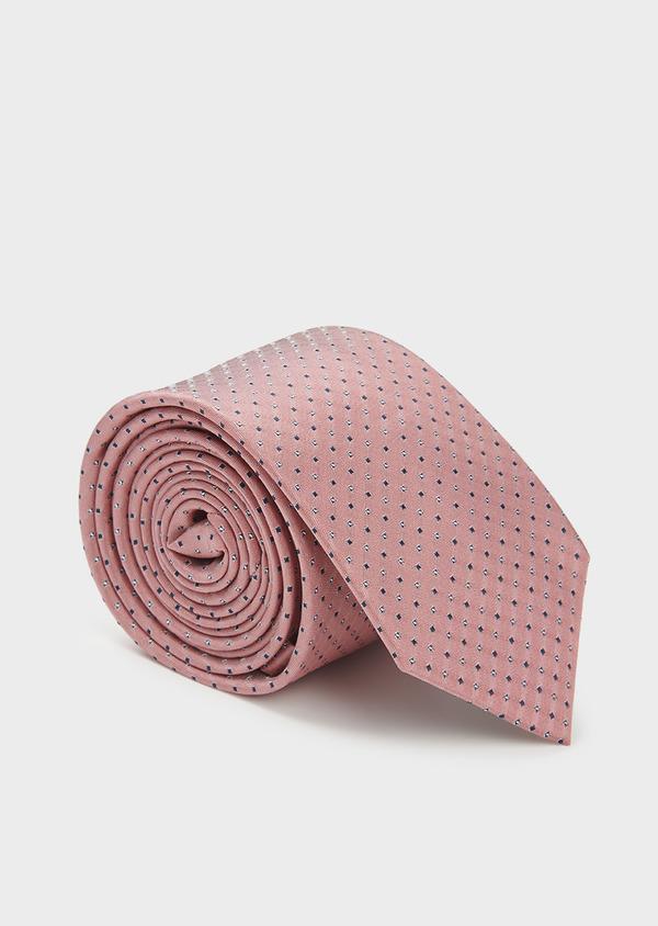 Cravate large en soie rose à motifs géométriques marine et blanc - Father and Sons 6181