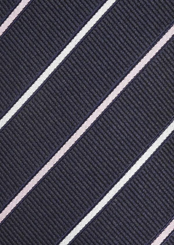 Cravate large en soie marine à rayures rose clair et blanc - Father and Sons 6202