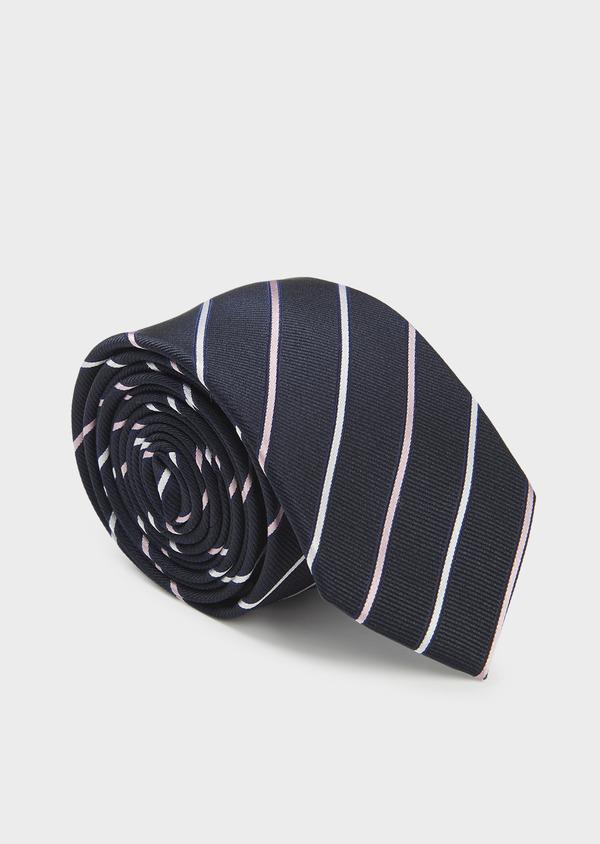 Cravate large en soie marine à rayures rose clair et blanc - Father and Sons 6201