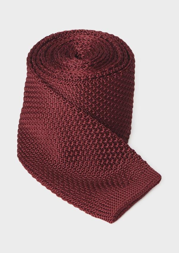 Cravate fine en tricot de soie unie bordeaux - Father and Sons 9077