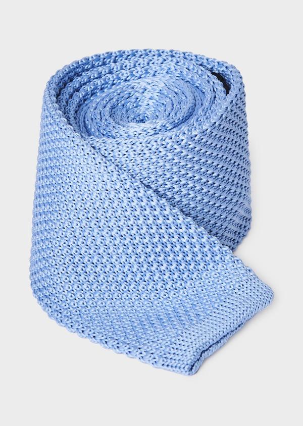 Cravate fine en tricot uni bleu clair - Father and Sons 9085