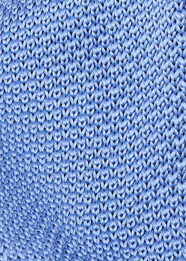 Cravate fine en tricot de soie unie bleue - Father and Sons 9090