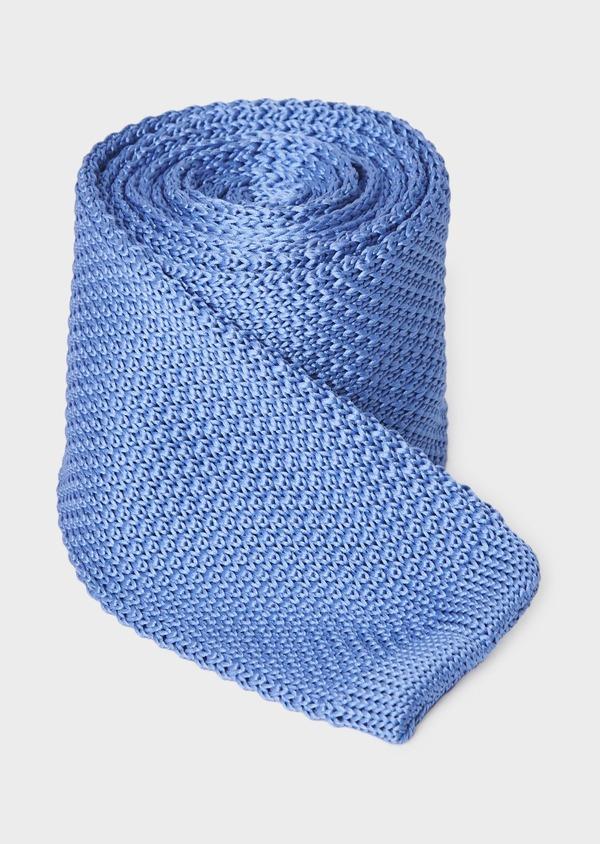 Cravate fine en tricot de soie unie bleue - Father and Sons 9089