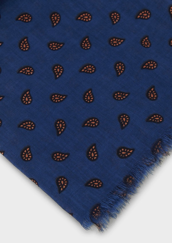 Echarpe en coton bleu à motif fantaisie orange - Father and Sons 6262