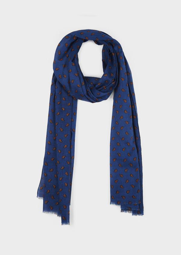 Echarpe en coton bleu à motif fantaisie orange - Father and Sons 6261