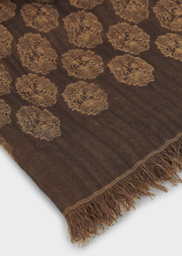 Echarpe en coton marron à motif fantaisie marron clair - Father and Sons 6290