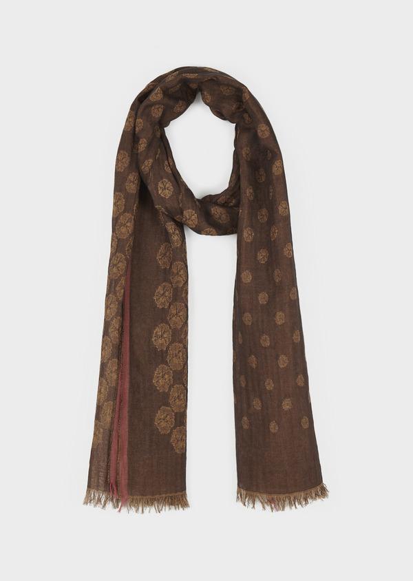 Echarpe en coton marron à motif fantaisie marron clair - Father and Sons 6289